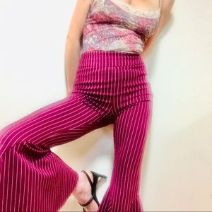 FP Mari Striped Wide Leg Bell Bottom Pants